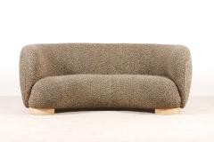 Elegant Three Seat Danish Curved Sofa from 1940s New Upholstery - 1247746