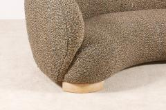 Elegant Three Seat Danish Curved Sofa from 1940s New Upholstery - 1247748