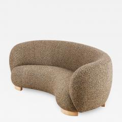 Elegant Three Seat Danish Curved Sofa from 1940s New Upholstery - 1252797