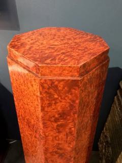 Elegant french Art Deco period burled wood pedestal - 907677
