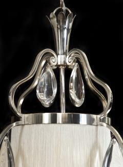 Elis Bergh A Swedish Crystal and Silvered Metal Lantern Chandelier - 350795