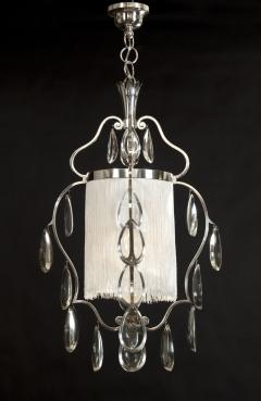 Elis Bergh A Swedish Crystal and Silvered Metal Lantern Chandelier - 350796