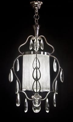 Elis Bergh A Swedish Crystal and Silvered Metal Lantern Chandelier - 350797