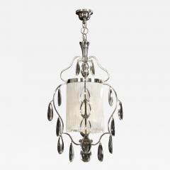 Elis Bergh A Swedish Crystal and Silvered Metal Lantern Chandelier - 352597
