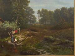 Elisa Agnetus Emilius Nyhoff The Old Red Mill French Antique Oil Painting by Elisa Agnetus Emilius Nyhoff - 1066664