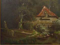 Elisa Agnetus Emilius Nyhoff The Old Red Mill French Antique Oil Painting by Elisa Agnetus Emilius Nyhoff - 1066665
