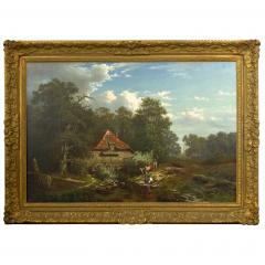 Elisa Agnetus Emilius Nyhoff The Old Red Mill French Antique Oil Painting by Elisa Agnetus Emilius Nyhoff - 1066666