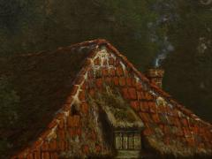 Elisa Agnetus Emilius Nyhoff The Old Red Mill French Antique Oil Painting by Elisa Agnetus Emilius Nyhoff - 1066669