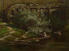 Elisa Agnetus Emilius Nyhoff The Old Red Mill French Antique Oil Painting by Elisa Agnetus Emilius Nyhoff - 1066672