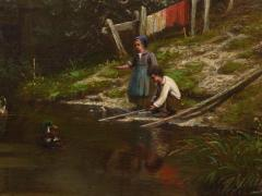 Elisa Agnetus Emilius Nyhoff The Old Red Mill French Antique Oil Painting by Elisa Agnetus Emilius Nyhoff - 1066673