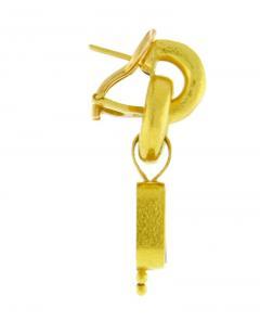 Elizabeth Locke Elizabeth Locke Cerulean Venetian Glass Intaglio God and Pillar Earrings - 1136174