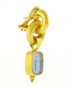 Elizabeth Locke Elizabeth Locke Cerulean Venetian Glass Intaglio God and Pillar Earrings - 1136177