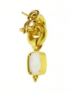 Elizabeth Locke Elizabeth Locke Cerulean Venetian Glass Intaglio God and Pillar Earrings - 1136178