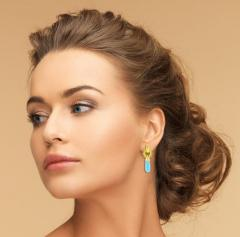 Elizabeth Locke Elizabeth Locke Turquoise Drop Gold Earrings - 1159746