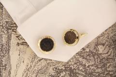 Ella Gafter Ella Gafter Antique Copper Coin Cufflinks Yellow Gold Diamonds - 1029223