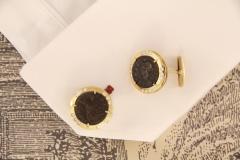 Ella Gafter Ella Gafter Antique Copper Coin Cufflinks Yellow Gold Diamonds - 1029224