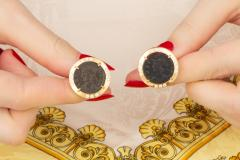 Ella Gafter Ella Gafter Antique Copper Coin Cufflinks Yellow Gold Diamonds - 1029229