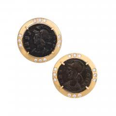 Ella Gafter Ella Gafter Antique Copper Coin Cufflinks Yellow Gold Diamonds - 1029414