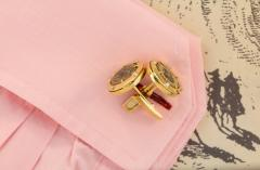 Ella Gafter Ella Gafter Antique Copper Coin Cufflinks Yellow Gold Diamonds - 1030062