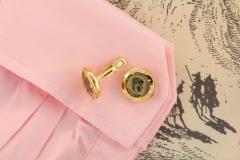 Ella Gafter Ella Gafter Antique Copper Coin Cufflinks Yellow Gold Diamonds - 1030063