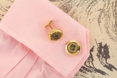 Ella Gafter Ella Gafter Antique Copper Coin Cufflinks Yellow Gold Diamonds - 1030065