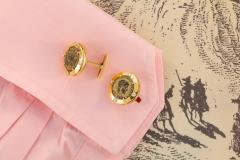 Ella Gafter Ella Gafter Antique Copper Coin Cufflinks Yellow Gold Diamonds - 1030066