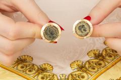 Ella Gafter Ella Gafter Antique Copper Coin Cufflinks Yellow Gold Diamonds - 1030068