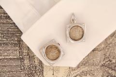 Ella Gafter Ella Gafter Antique Silver Coin Cufflinks Diamonds White Gold - 1030175