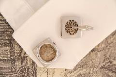 Ella Gafter Ella Gafter Antique Silver Coin Cufflinks Diamonds White Gold - 1030176
