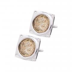 Ella Gafter Ella Gafter Antique Silver Coin Cufflinks Diamonds White Gold - 1030201