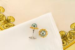 Ella Gafter Ella Gafter Black Tahitian Pearl Cufflinks Sapphire White Gold - 1152623