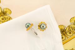 Ella Gafter Ella Gafter Black Tahitian Pearl Cufflinks Sapphire White Gold - 1152625