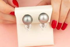 Ella Gafter Ella Gafter Black Tahitian Pearl and Diamond Clip On Earrings - 1141998