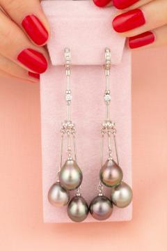 Ella Gafter Ella Gafter Black Tahitian Pearl and Diamond Drop Earrings - 1142038
