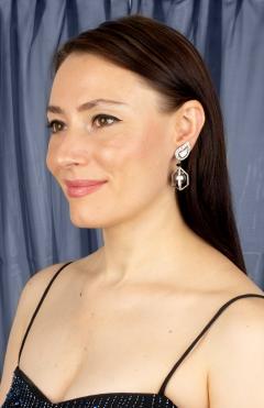 Ella Gafter Ella Gafter Black Tahitian Pearl and Diamond Drop Earrings - 1187582