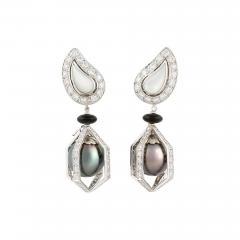 Ella Gafter Ella Gafter Black Tahitian Pearl and Diamond Drop Earrings - 1189606