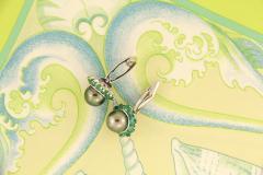 Ella Gafter Ella Gafter Black Tahitian Pearl and Emerald Cufflinks White Gold - 1030092
