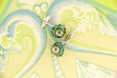 Ella Gafter Ella Gafter Black Tahitian Pearl and Emerald Cufflinks White Gold - 1030095