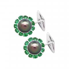 Ella Gafter Ella Gafter Black Tahitian Pearl and Emerald Cufflinks White Gold - 1030191