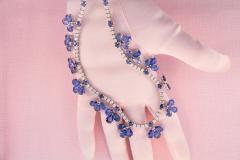 Ella Gafter Ella Gafter Blue Ceylon Sapphire Diamond Flower Necklace and Earrings Set - 1160730