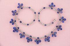 Ella Gafter Ella Gafter Blue Ceylon Sapphire Diamond Flower Necklace and Earrings Set - 1160732