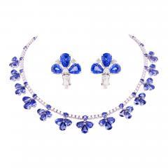 Ella Gafter Ella Gafter Blue Ceylon Sapphire Diamond Flower Necklace and Earrings Set - 1160829