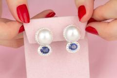 Ella Gafter Ella Gafter Blue Sapphire South Sea Pearl Clip On Earrings with Diamonds - 1143875