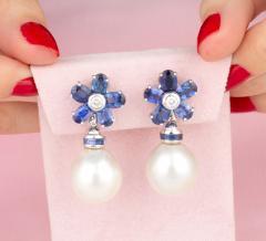 Ella Gafter Ella Gafter Blue Sapphire South Sea Pearl Drop Earrings Flower Design - 1192186