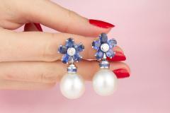 Ella Gafter Ella Gafter Blue Sapphire South Sea Pearl Drop Earrings Flower Design - 1192187