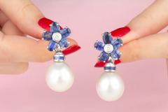 Ella Gafter Ella Gafter Blue Sapphire South Sea Pearl Drop Earrings Flower Design - 1192190