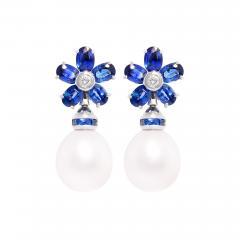 Ella Gafter Ella Gafter Blue Sapphire South Sea Pearl Drop Earrings Flower Design - 1192964