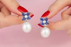 Ella Gafter Ella Gafter Blue Sapphire South Sea Pearl and Diamond Flower Earrings - 1007970