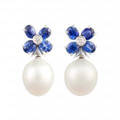 Ella Gafter Ella Gafter Blue Sapphire South Sea Pearl and Diamond Flower Earrings - 1011203