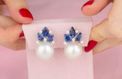 Ella Gafter Ella Gafter Blue Sapphire South Sea Pearl and Diamond Flower Earrings - 1187524